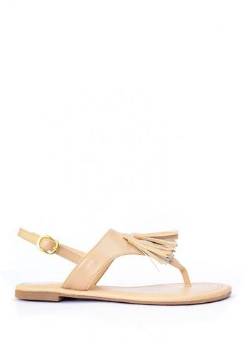 HDY beige Agatha Tassel Flat Sandals HD484SH91OFSPH_1