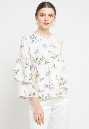 Office Hour white and multi Lyndell Blouse CB8D5AA880FDE1GS_1