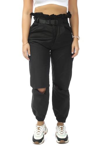 London Rag black Black Paper bag Pants with Buckled Belt 541E1AA97FCBE1GS_1