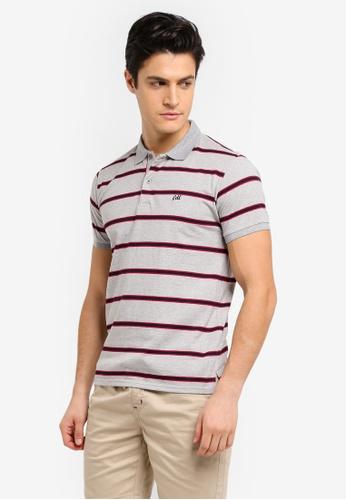 Fidelio grey Basic Stripes Embroidery Polo Shirt 435B6AA33AE3E7GS_1