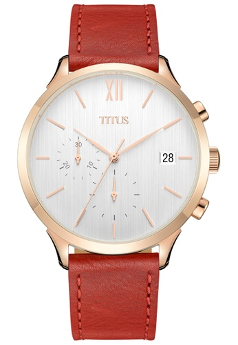 Solvil et Titus white and red and gold Interlude Unisex Chronograph Analogue Quartz Watch In White Dial And Red Leather Strap 47CF2ACCDBD308GS_1