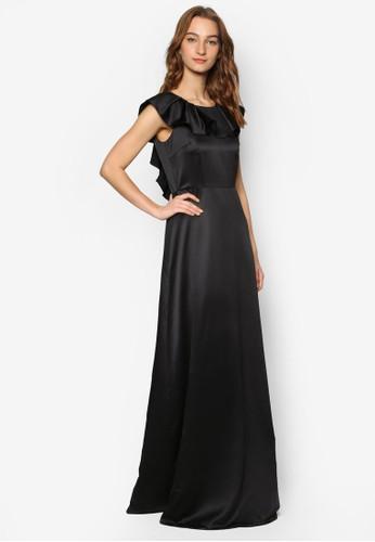 荷葉肩飾蕾絲V 字背長洋裝esprit暢貨中心, 服飾, 洋裝