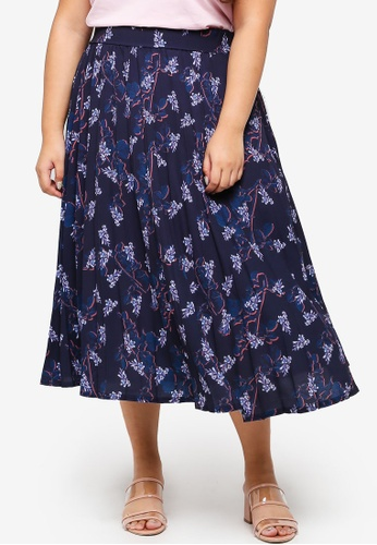 LOST INK PLUS multi Plus Size Pleated Skirt In Blossom Flora B789BAA32AC5AFGS_1