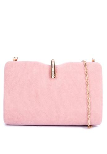 Cava Bags pink U Clasp Notched Minaudiere Suede F6B8CAC1F0862BGS_1