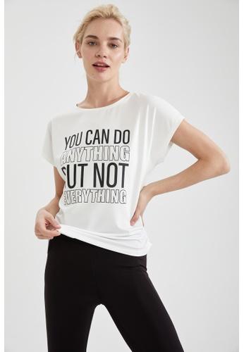 DeFacto white Short Sleeve Athleisure T-Shirt 20B5EAAE62FCDFGS_1