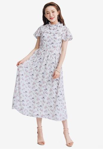 Yoco white Ruffled Floral Maxi Dress E36BCAA3F81E78GS_1
