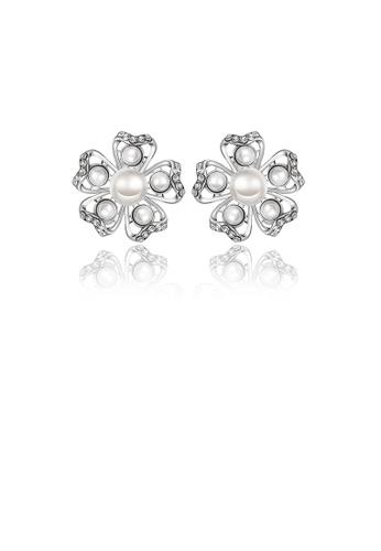 Glamorousky white Elegant Romantic Sweet White Flower Non Natural Pearl Earrings Ear Studs 3CC1FAC47C437DGS_1