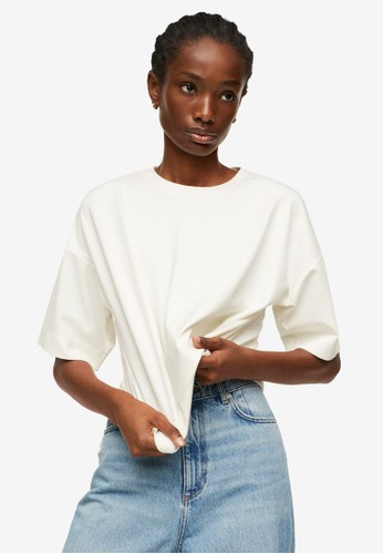 Mango white Asymmetric Hem T-Shirt 16C64AA7CF93D8GS_1