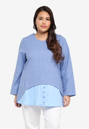 peace collections blue Plus Size Blouse 9C679AA7A4A4E5GS_1