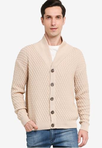 ZALORA BASICS 米褐色 Basic Knitted Cardigan 6D941AAC1519C2GS_1