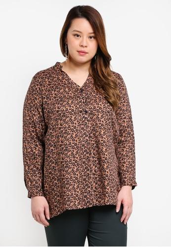 Ex'otico brown Plus Size Long Sleeve Mandarin Collar Blouse 4C0A0AA26461B1GS_1