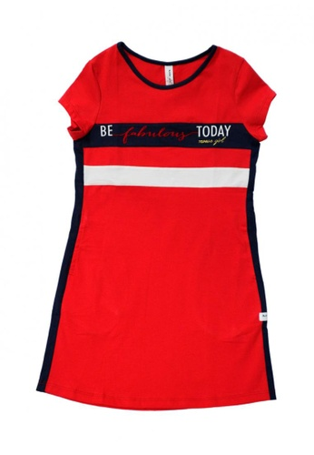MOOSE GIRL white and red and navy Printed Combi Dress For Girls With Print Details 8B166KA91F9AA8GS_1