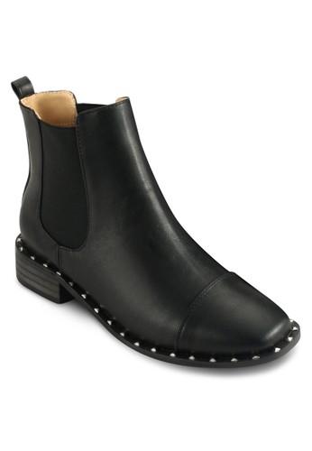 鉚zalora開箱釘飾彈性帶騎士短靴, 女鞋, 鞋