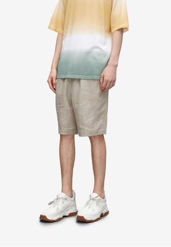 URBAN REVIVO grey Linen Shorts D8B47AA3D8F3CDGS_1