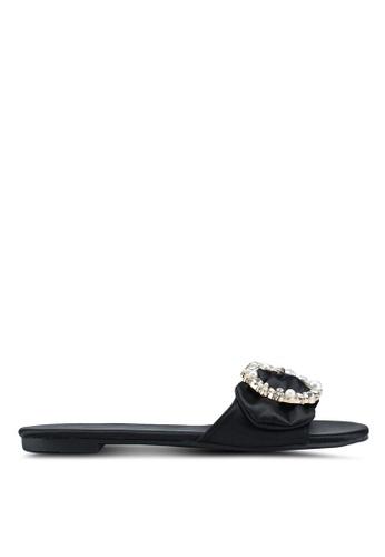 Nose 黑色 綢緞珍珠鑽飾拖鞋 3A7CASHBD95E5EGS_1