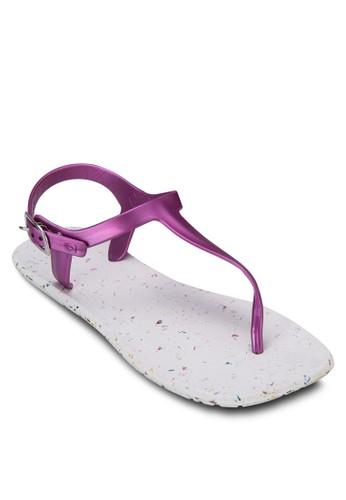 撞色繞踝夾zalora 折扣碼腳拖鞋, 女鞋, 涼鞋