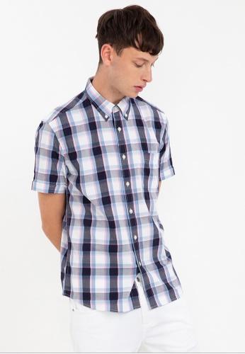 Bossini blue Short Sleeve Checkered Shirt 51F5AAAB039387GS_1