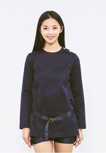 有機棉前長後短緞面腰帶esprit 台灣上衣, 服飾, 上衣