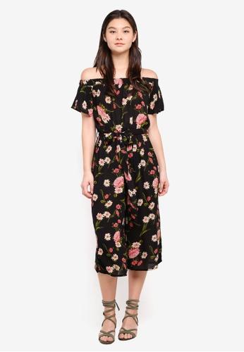 Dorothy Perkins black Black Floral Bardot Jumpsuit 7ACA3AA90852BAGS_1