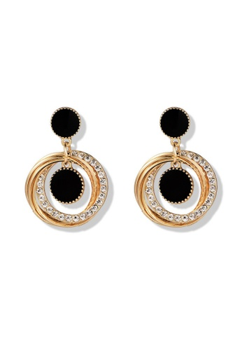 Atrireal black and gold ATRIREAL - Midnight Round Shaped Multi-Cirlcle Dangle Earring BFCCEACE318005GS_1