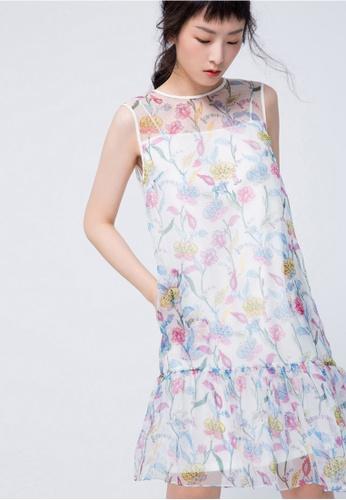iROO multi Floral Printed Dress 4F64AAA18D800BGS_1