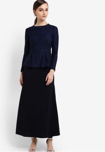 VERCATO navy Zoey Peplum Lace Dress VE999AA89BJEMY_1