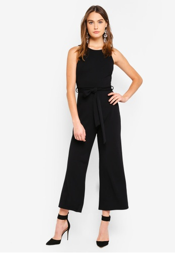 ae752ce2f6a29f Miss Selfridge black Petite Black Round Neck Smart Jumpsuit  9B344AA5DF4493GS 1