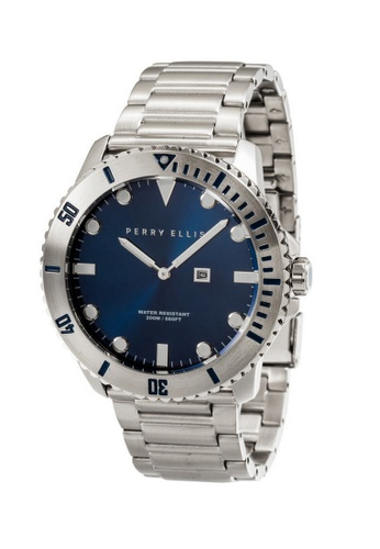 PERRY ELLIS blue and silver Perry Ellis Deep Diver Unisex 42mm Quartz Stainless Steel Watch 06002-02 256C3ACAA798F2GS_1