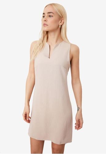 Trendyol beige Sleeveless Shift Dress 15F0DAA1CE87ECGS_1
