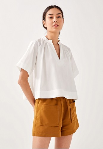 Love, Bonito white Callio Boxy Shirt Cropped Top 4E373AA196BCFBGS_1