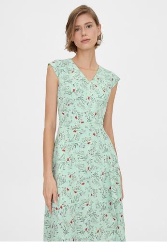 Pomelo blue Midi Floral V Neck Dress - Mint E0FF8AAFEAB2F6GS_1