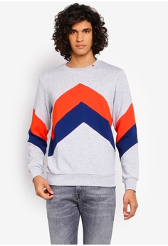 85072a2aa SCOTCH & SODA grey and multi Crew Neck Color Block Sweater  A747CAAE17CF4FGS_1