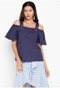 6ee1dd1f08079 Kashieca blue Cold Shoulder Short Sleeve Blouse 947DDAAD632DC3GS 1