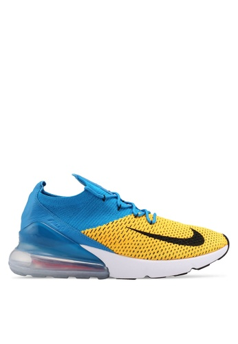 Nike black and orange and blue Men's Nike Air Max 270 Flyknit Shoes 8E621SHBCA74A6GS_1