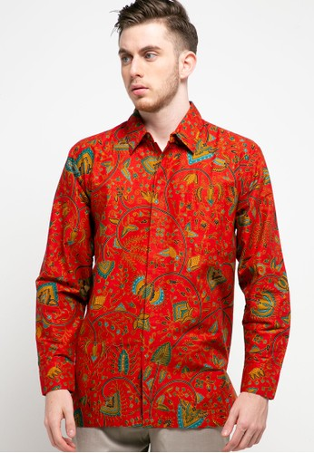 Danar Hadi red Kemeja Panjang Batik Print Motif Lokcan Kembang Soka DA4AEAA1CED56CGS_1