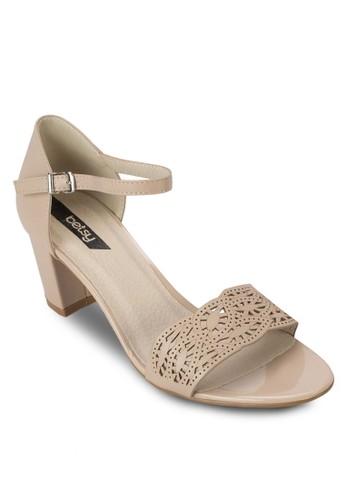 雕花寬帶繞踝粗跟鞋,zalora時尚購物網評價 女鞋, 鞋