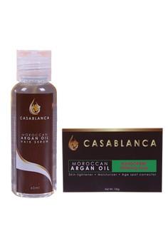 Moroccan Argan Oil Mangosteen Whitening Soap 135g with Moroccan Argan Oil Hair Serum 60ml Bundle