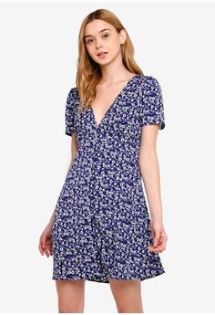 88fd3b7f2c07 Cotton On blue and navy Woven Dotti Deep V Puff Sleeve Mini Dress  C5B07AAC823B59GS_1