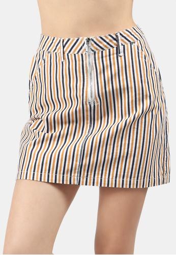 London Rag yellow Striped Mini Skirt 5DADAAA7A01E90GS_1
