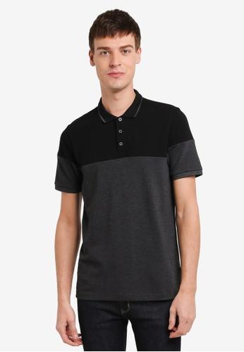 Burton Menswear London 黑色 Black Cut And Sew Polo Shirt BU964AA0SD2KMY_1