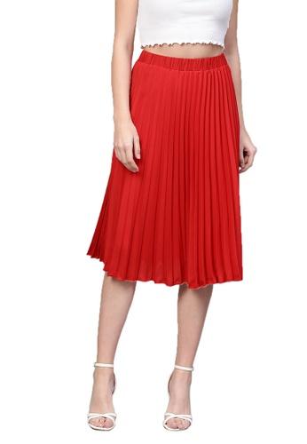 SASSAFRAS red Red Pleated Skirt E8D6EAA6CC232BGS_1