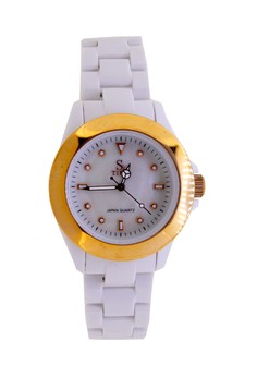 Japan Design Plastic with Luminescent Index and Mother of Pearl Dial Watch