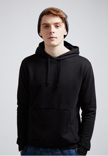 經典簡約。口袋進化。高磅刷毛棉質連帽T-MIT-03730-黑色, 服飾,zalora 台灣 連帽上衣