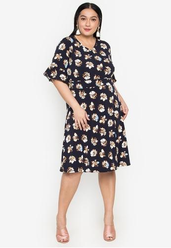 Maxine multi Plus Size Flounce Sleeves Floral Dress E1835AADC4DD1CGS_1