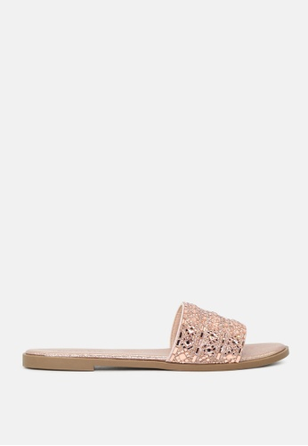 London Rag gold Mirror Embellished Flat Sliders DD230SH034B271GS_1