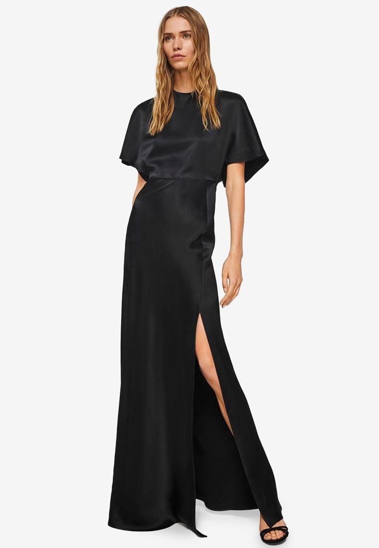 Back Dress Black Detail Mango Satin TTfxUCwq
