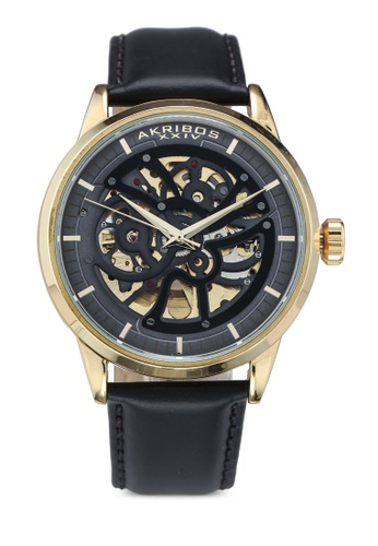 Akribos XXIV black Automatic Leather Watch F7274ACE9097AAGS_1