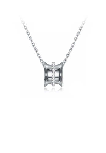 Glamorousky white 925 Sterling Silver Fashion Simple Geometric Column Pendant with Cubic Zircon and Necklace 5D88FAC5A98D2AGS_1