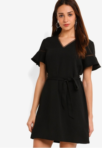 ZALORA black V-Neck Flare Sleeves Dress B39D5AA8958732GS_1