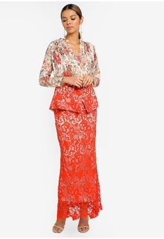 d9f2f0712b8f4d Ezzati Amira multi Floral Pleated Blouse With Lace Skirt 67578AACBDAA74GS 1